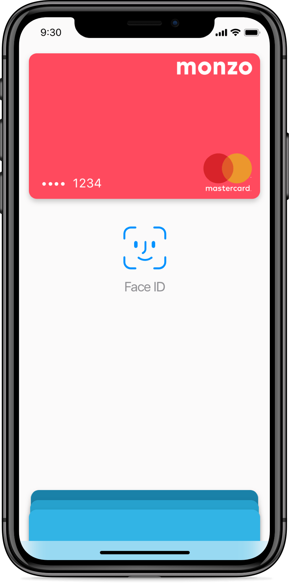 iPhone X with a Monzo Card on Apple Pay