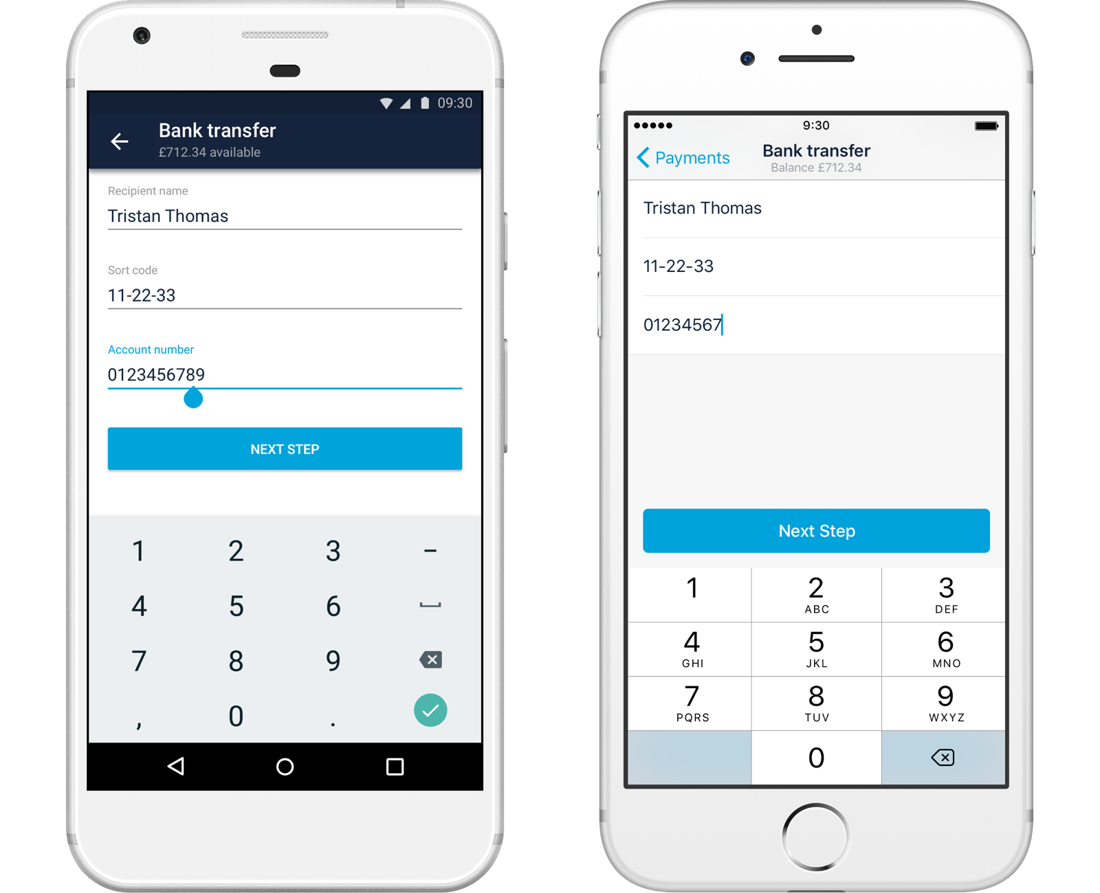 Screenshots of current account bank transfers in both Android and iOS
