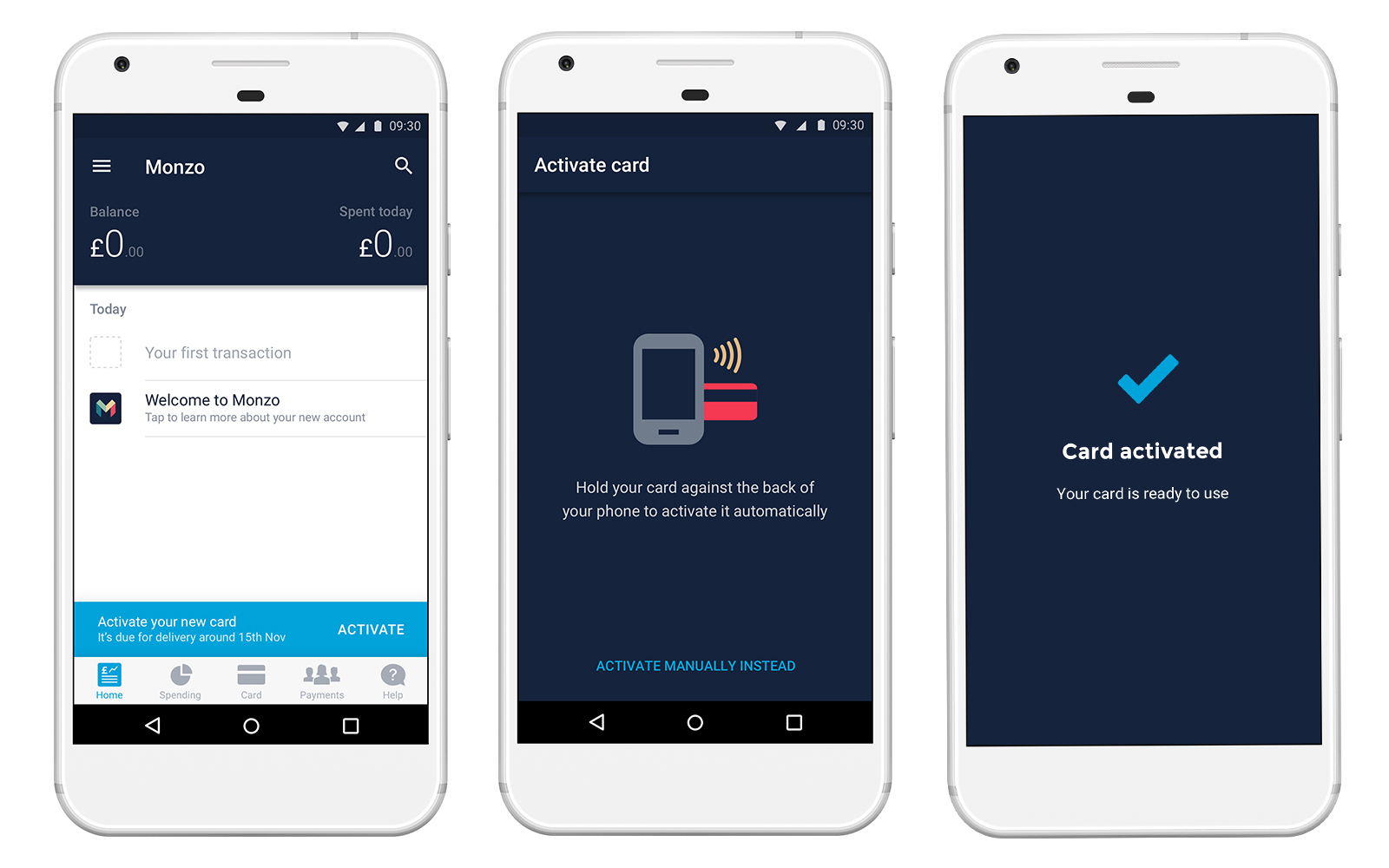 Screenshots of the NFC-powered one-tap card activation flow