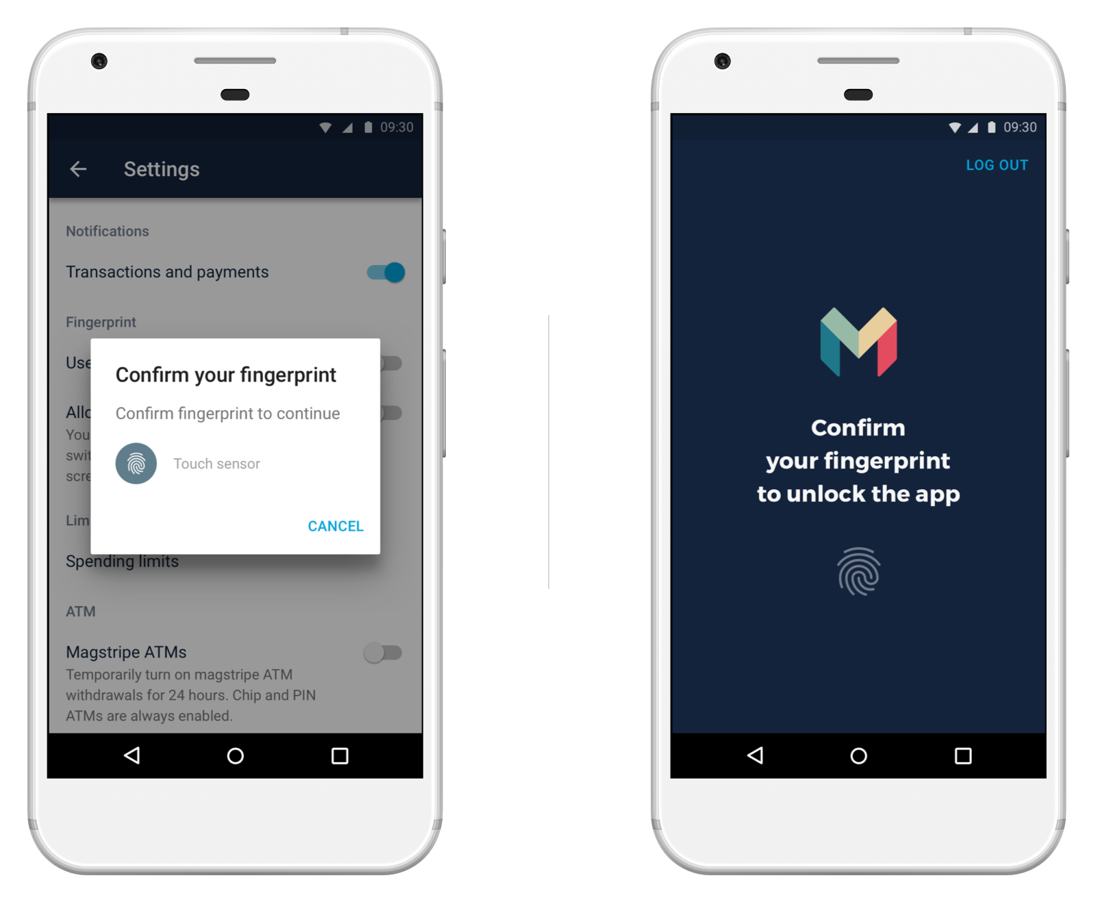 Screen showing fingerprint unlock in the Monzo Android app