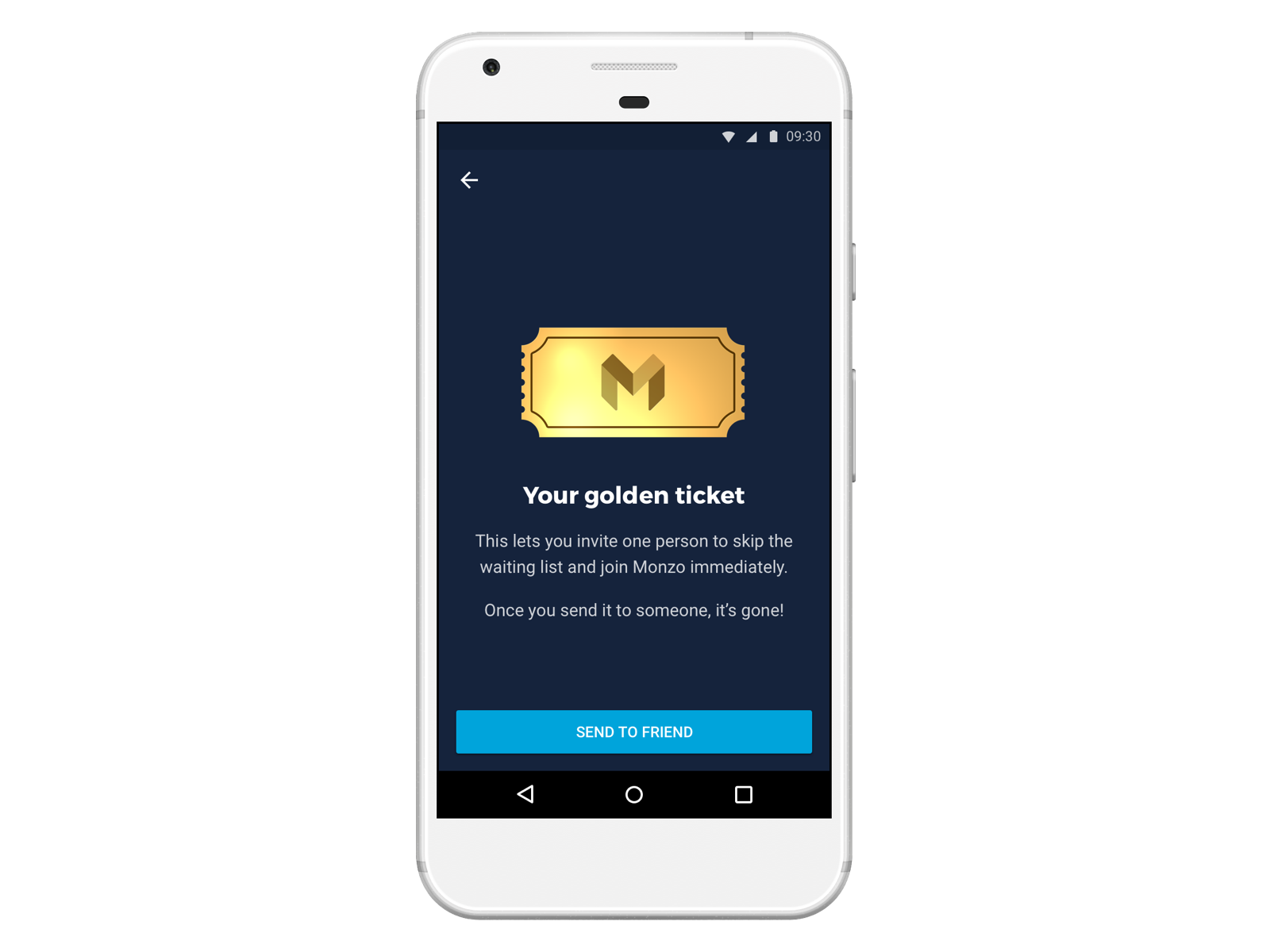 Screen showing a Golden Ticket in the Monzo app