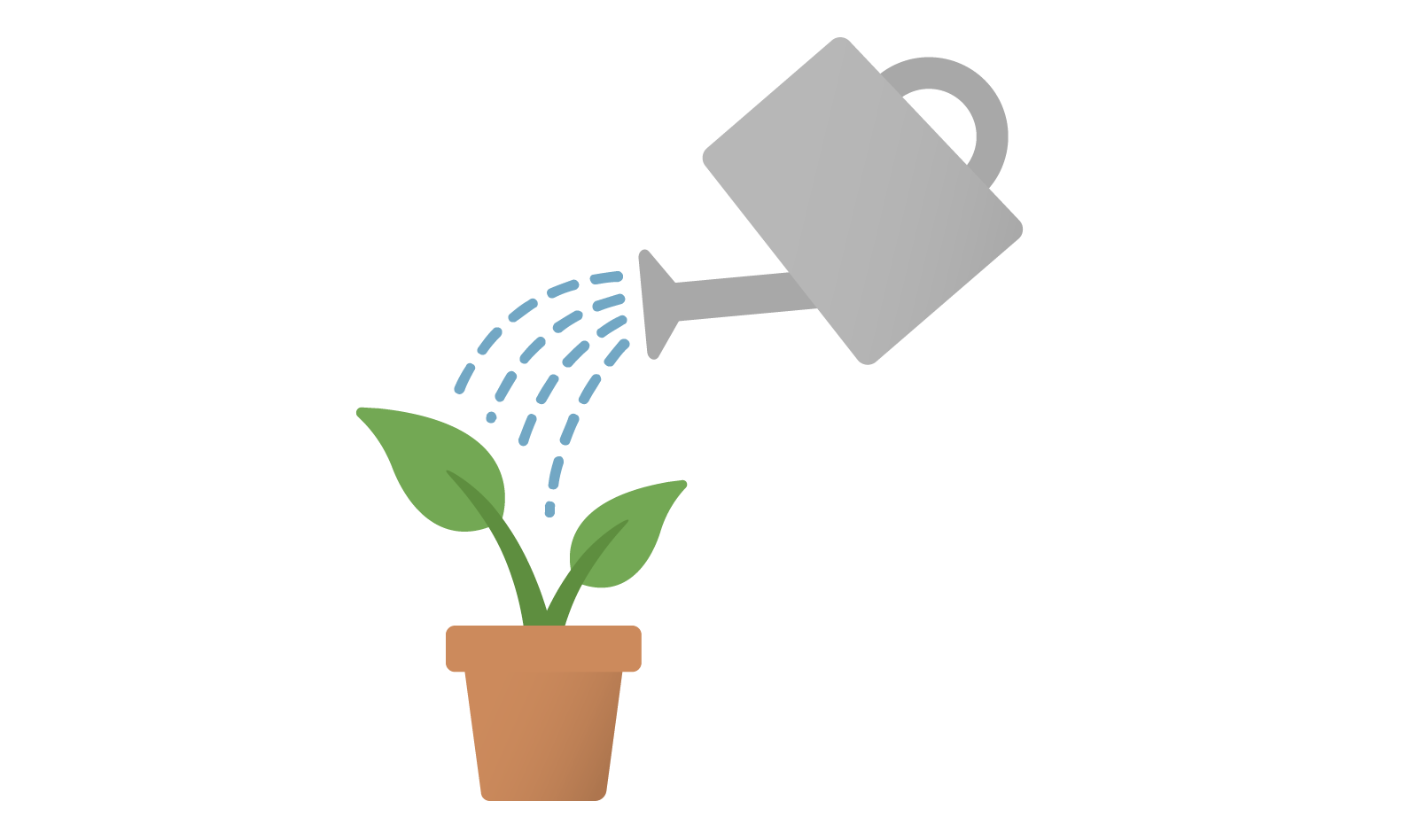 Illustration of a plant being watered and growing