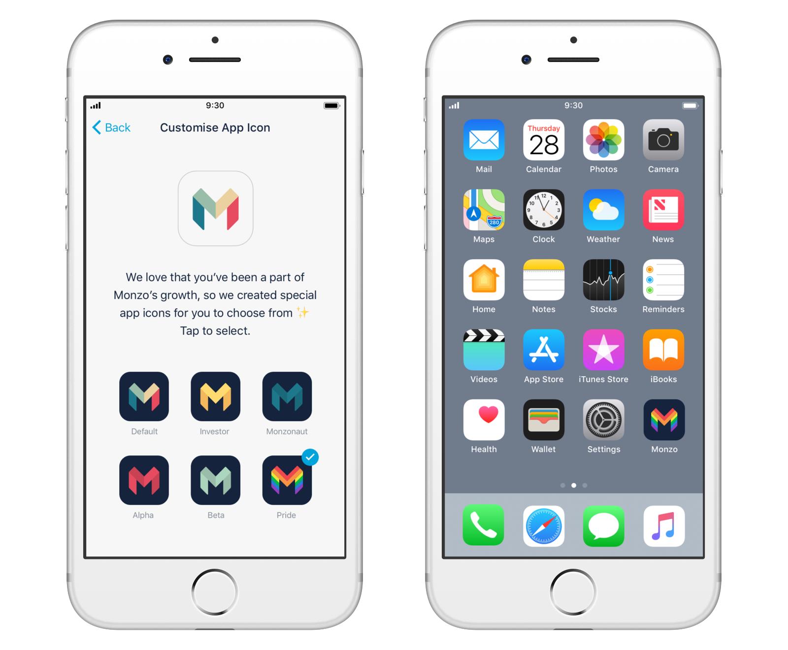 Custom Monzo app icons on iOS