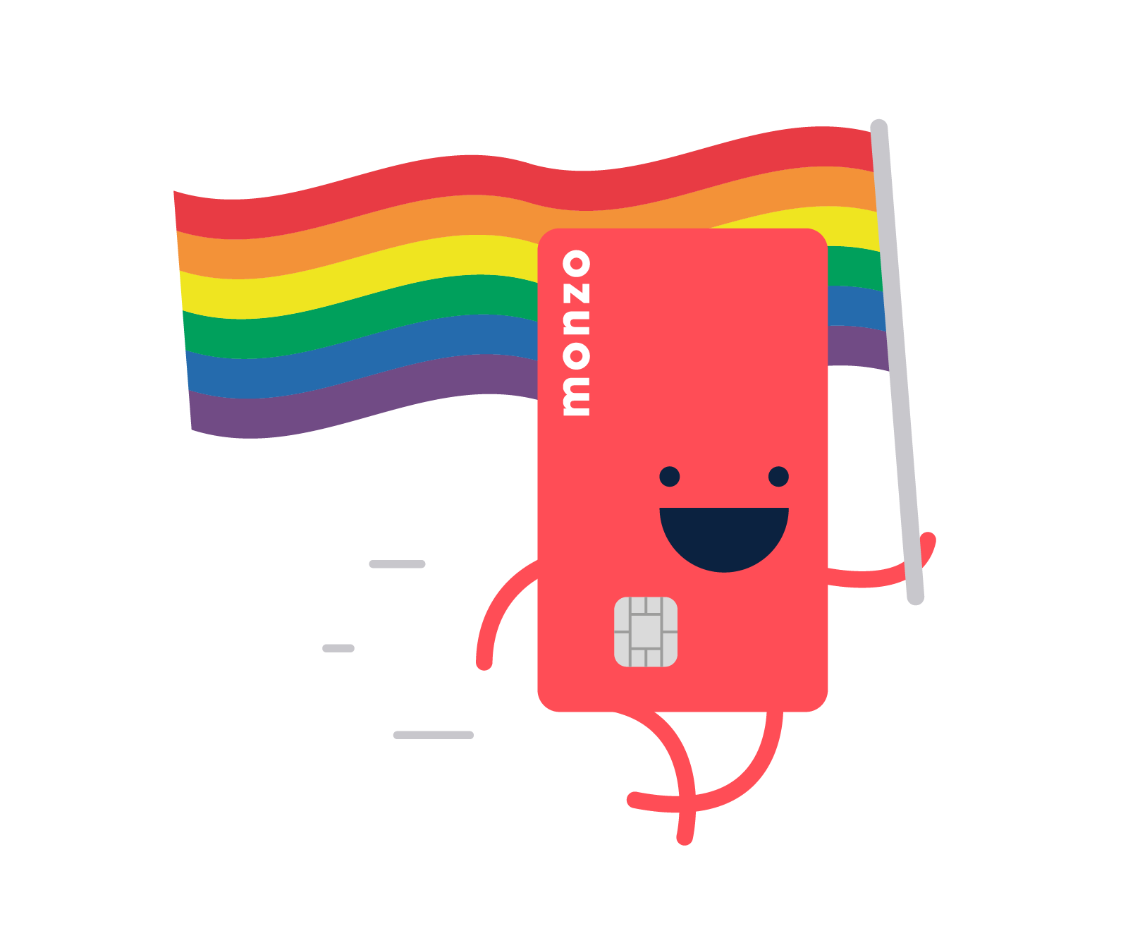 Illustration of Hot Chip walking with a rainbow flag