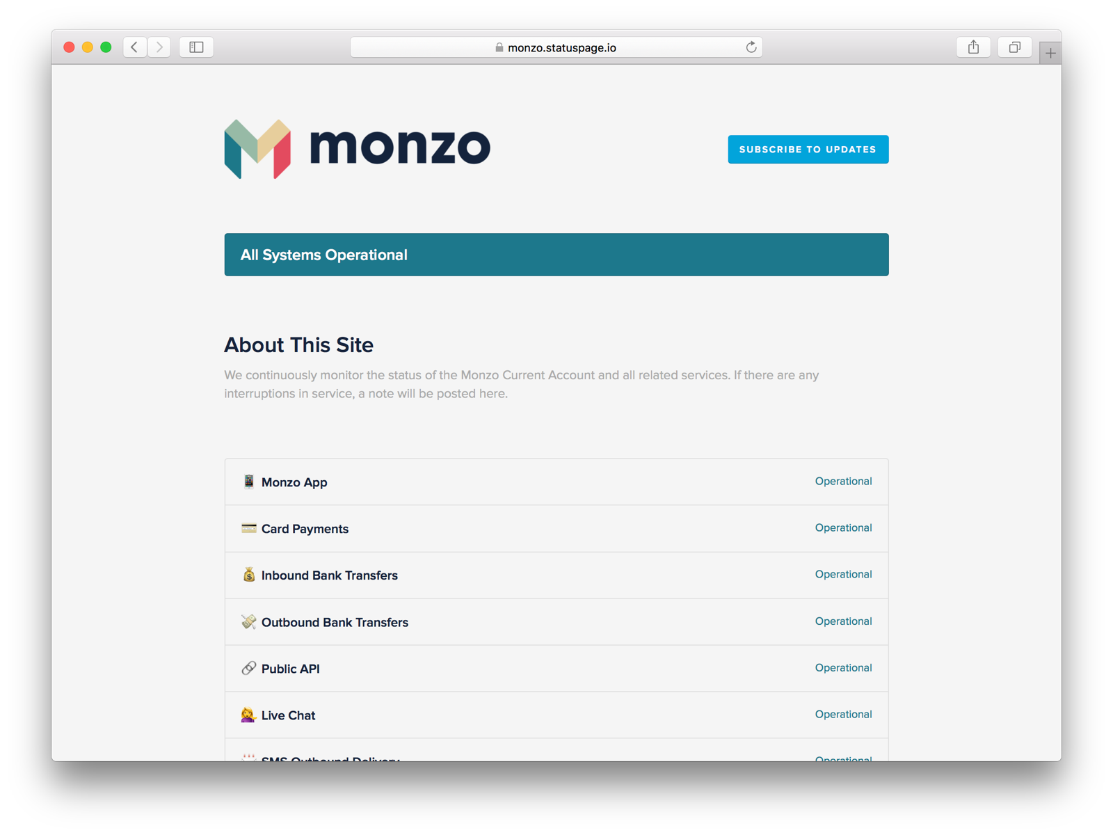 Screenshot of the Monzo public status page