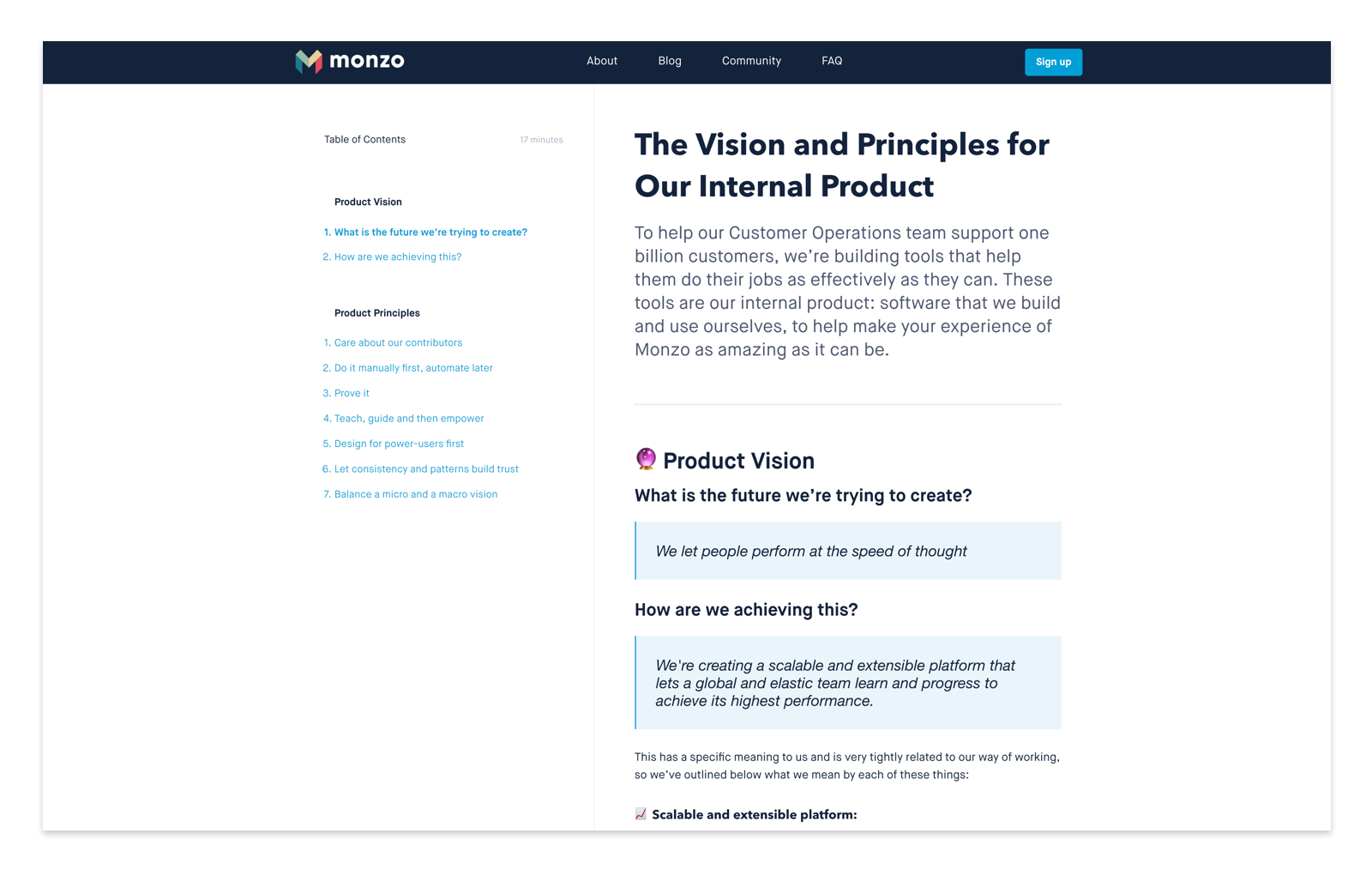 Screenshot of the Vision and Principles for Our Internal Product