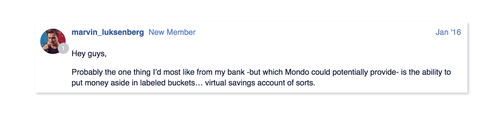 Screenshot of an idea from the forum suggesting virtual savings accounts