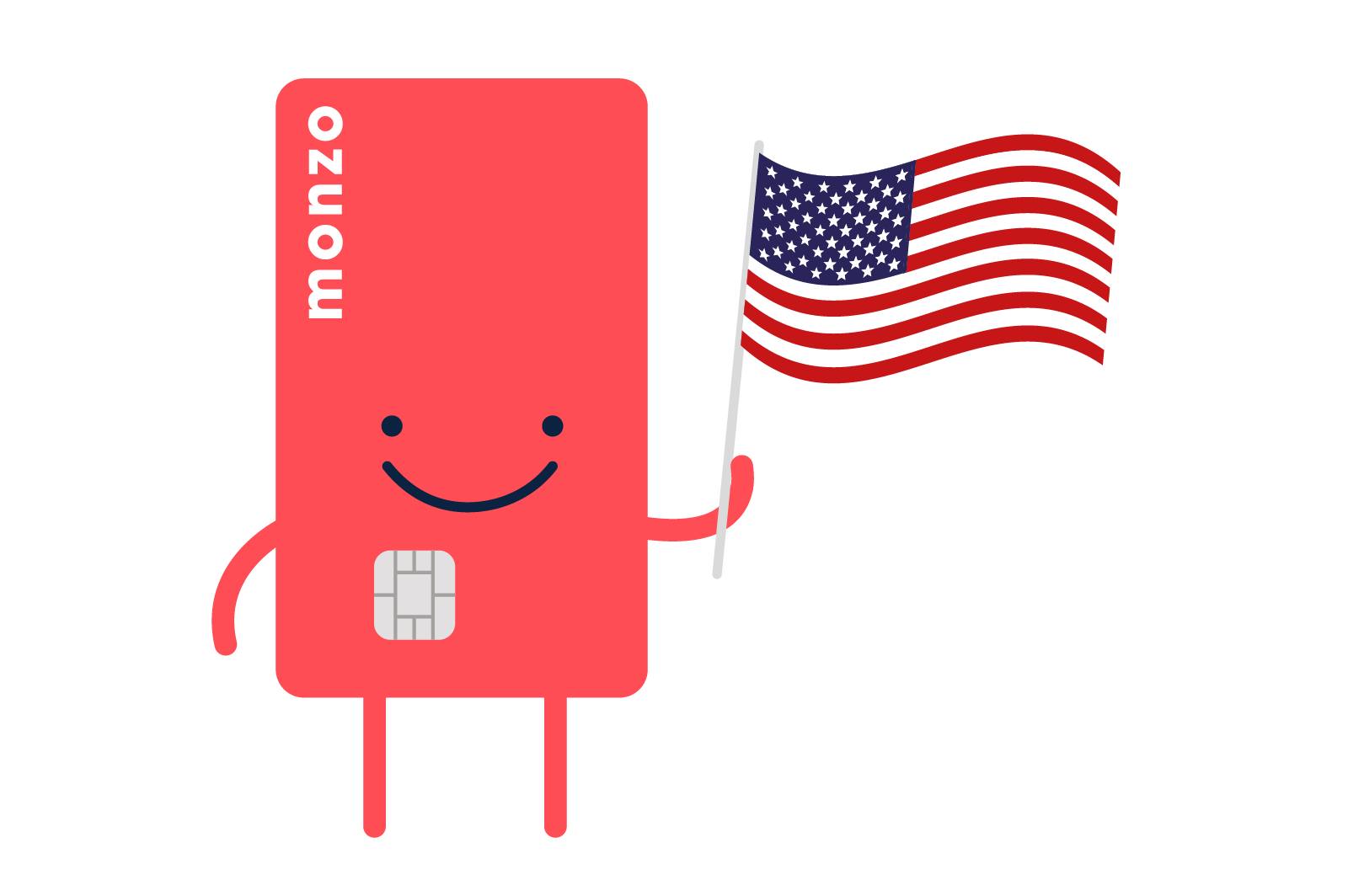 Illustration of Hot Chip character holding an American flag