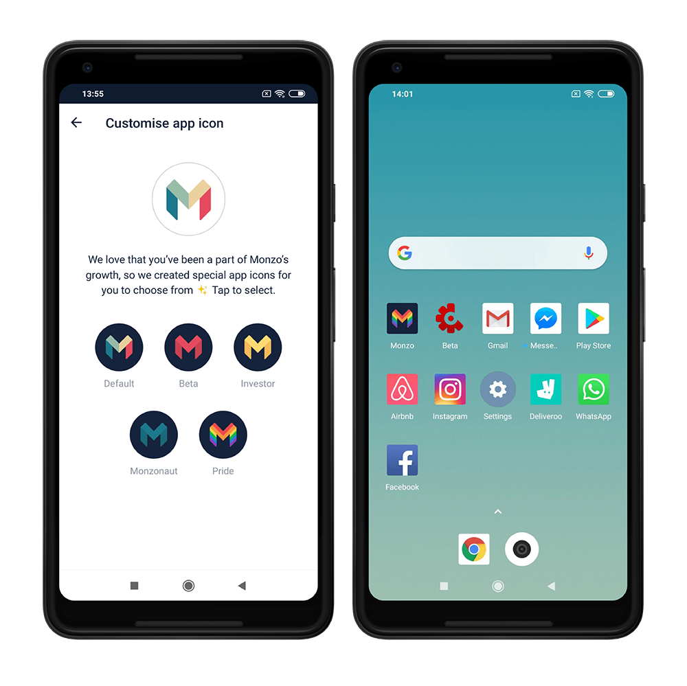 A selection of custom Monzo icons on a phone screen.