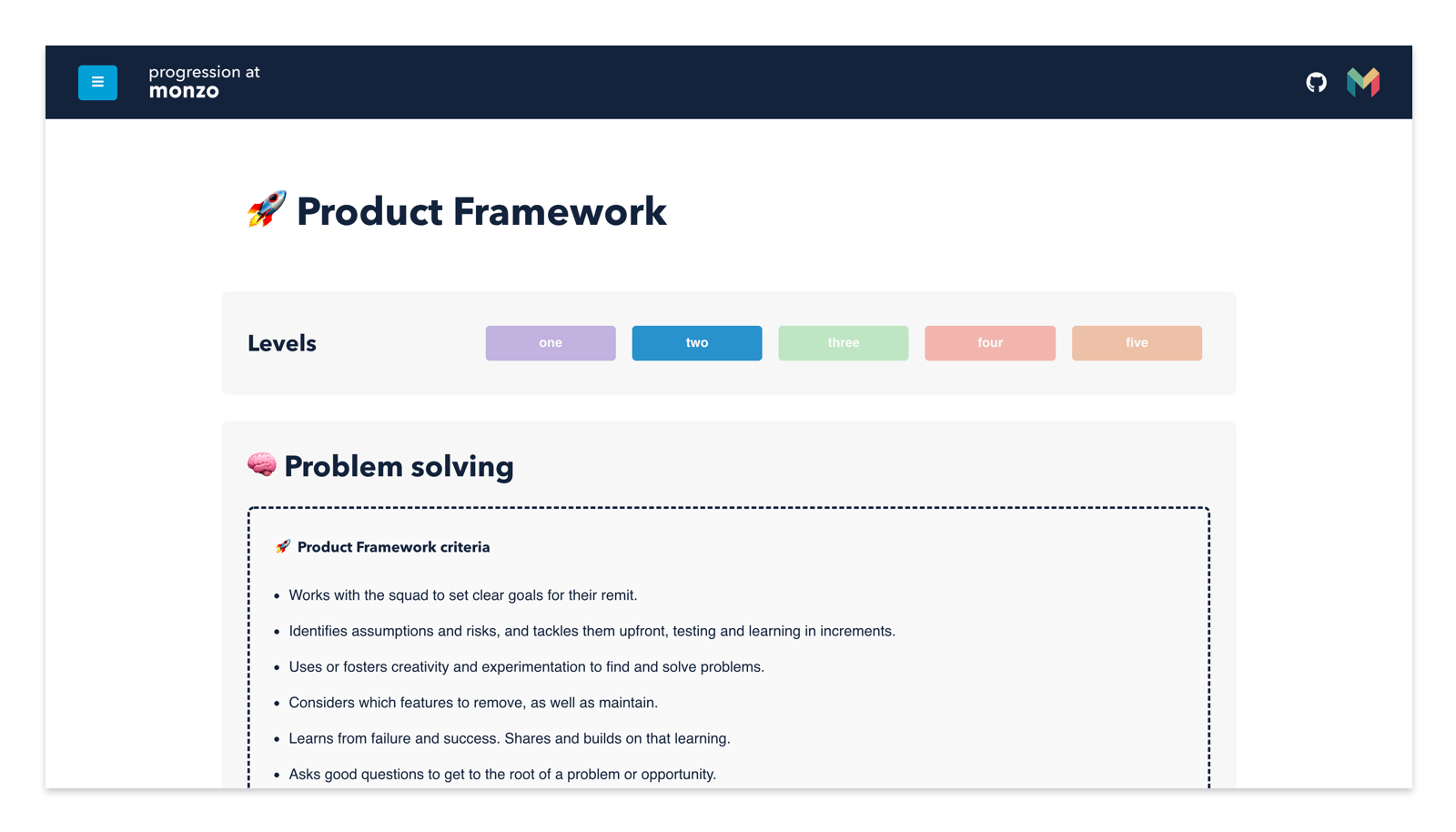 Screenshot of the progression framework website