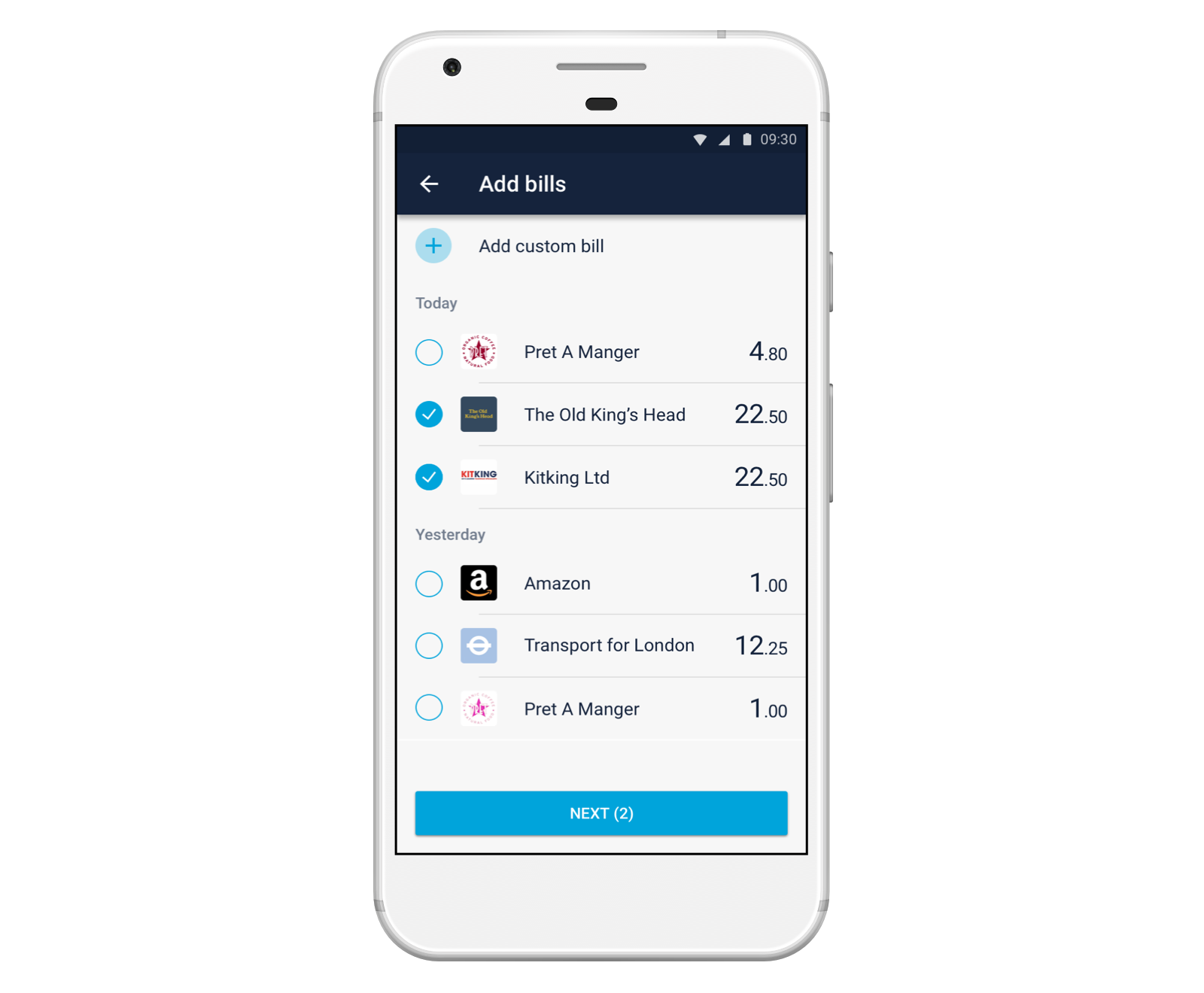 Image of a smartphone showing a Shared Tab on the Monzo app