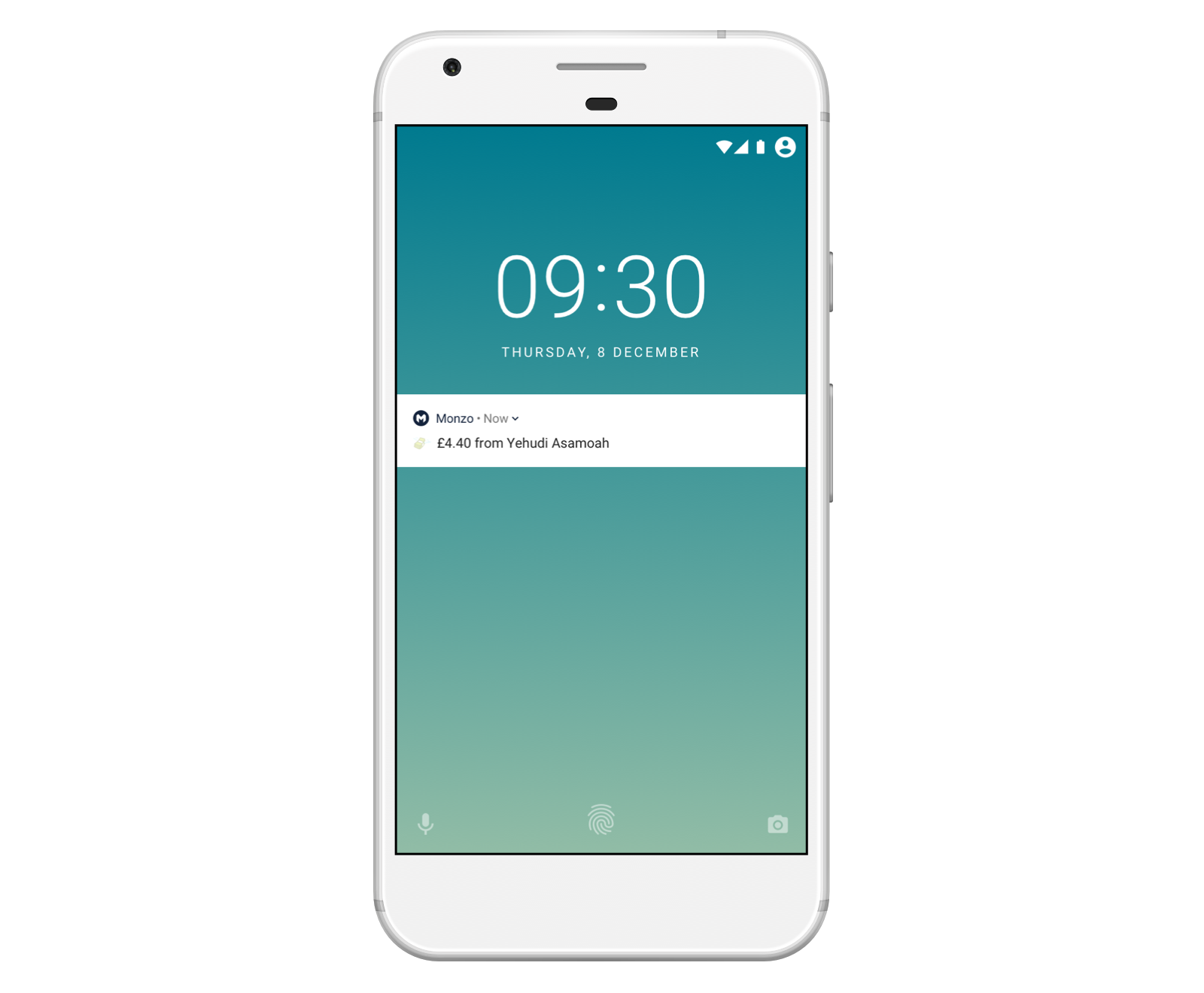 Image of a smartphone showing an instant notification from the Monzo app