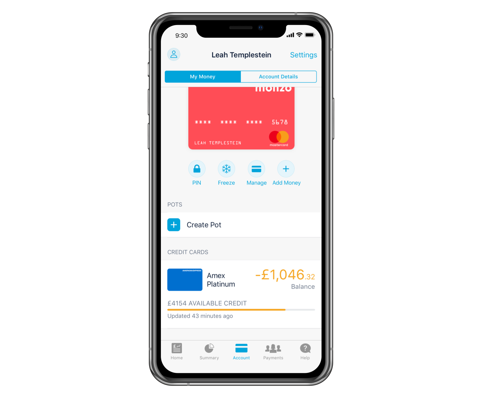 Amex balance in the app.