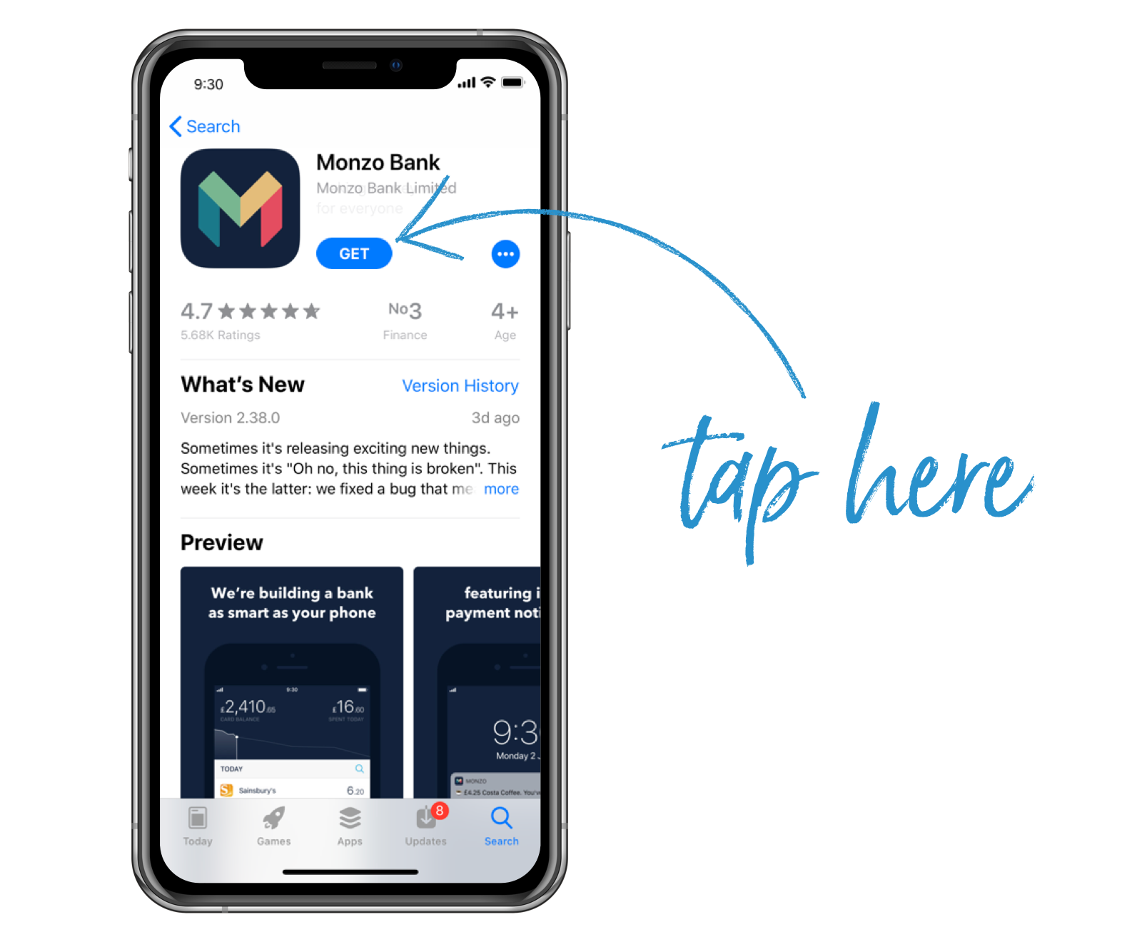Screenshot of the Monzo app in the Google Play Store