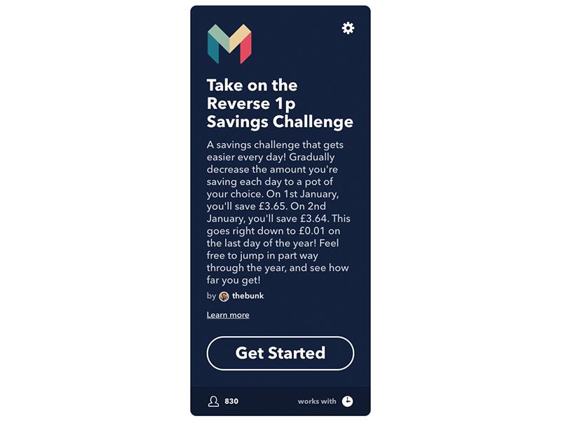 Reverse 1p Saving Challenge applet in IFTTT