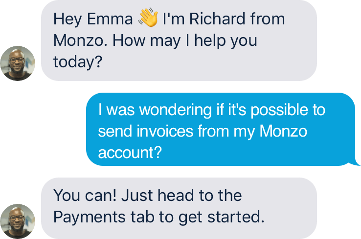 screenshot of monzo customer service chat