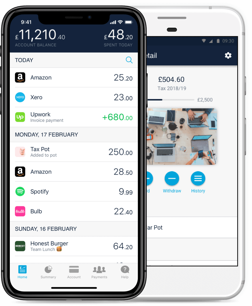 screenshot of monzo business account in app