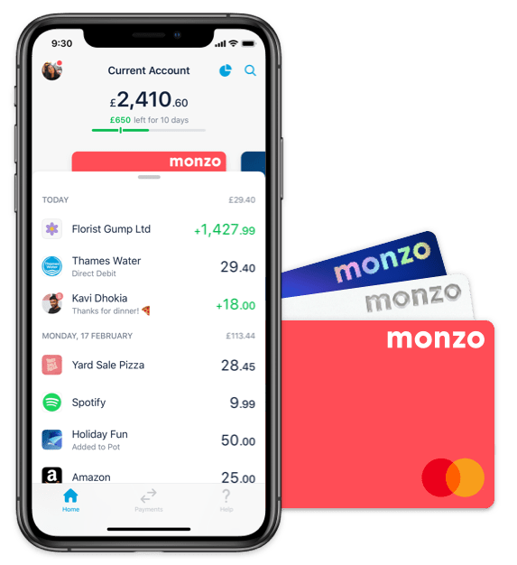 Monzo app and two Monzo cards