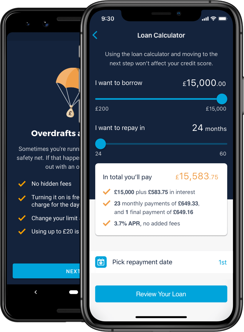 Monzo app showing loan calculator