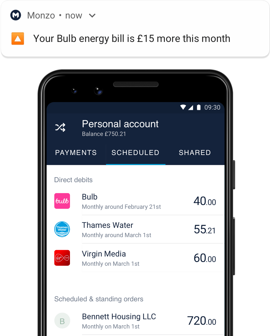 Monzo app with notification of bill being more this month