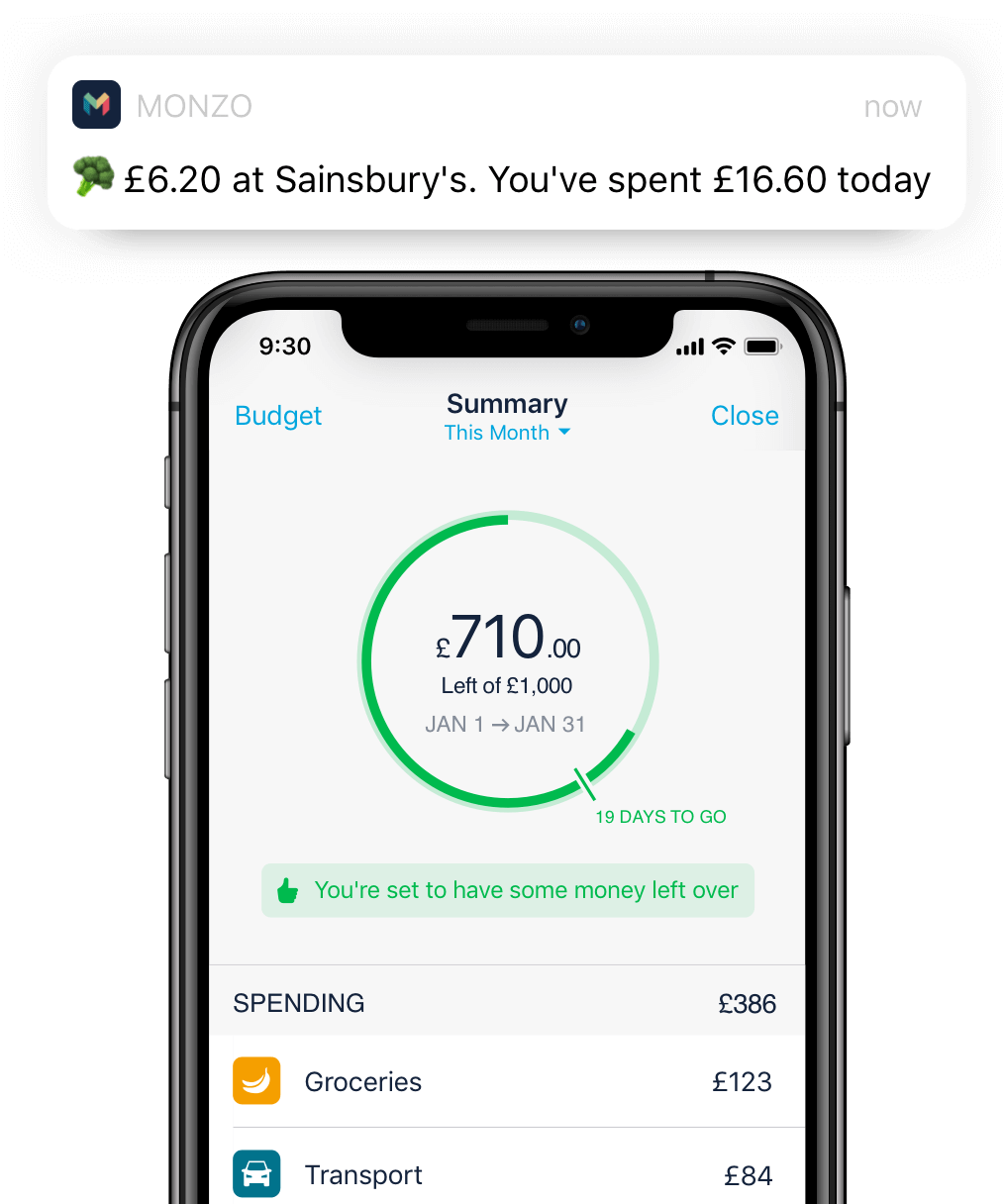 Monzo app showing a month summary with spending notifications around it