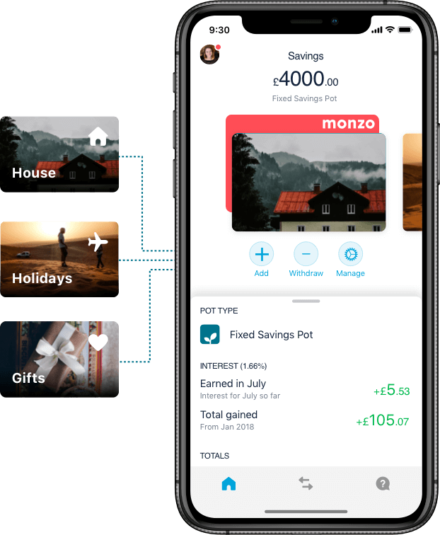 Monzo app with a savings pot and its transaction summary