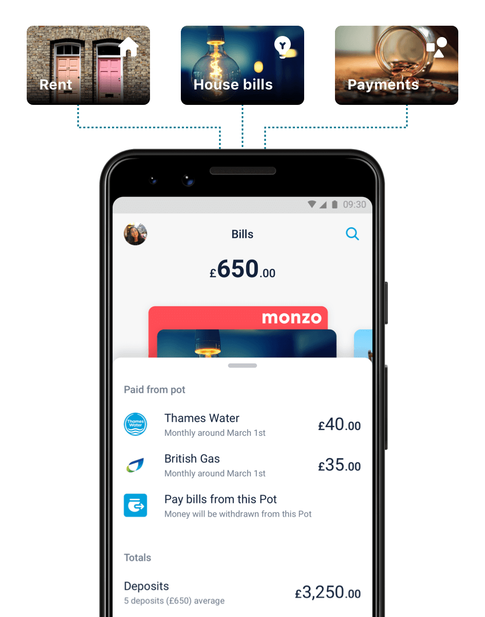 Monzo app showing bills, that are paid from a pot