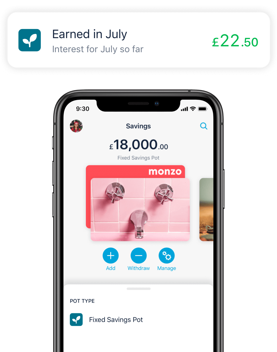 Monzo app showing a notification your interested earned this month