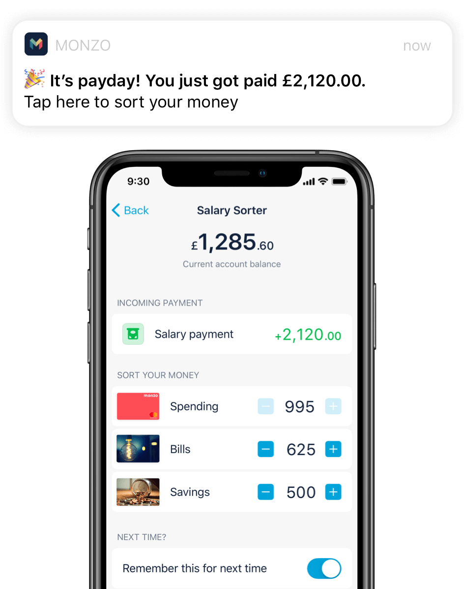 Monzo app with notification of incoming salary