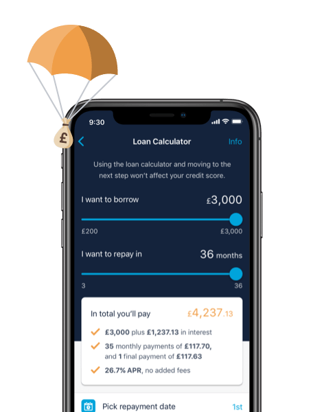 Monzo app showing the loan calculator