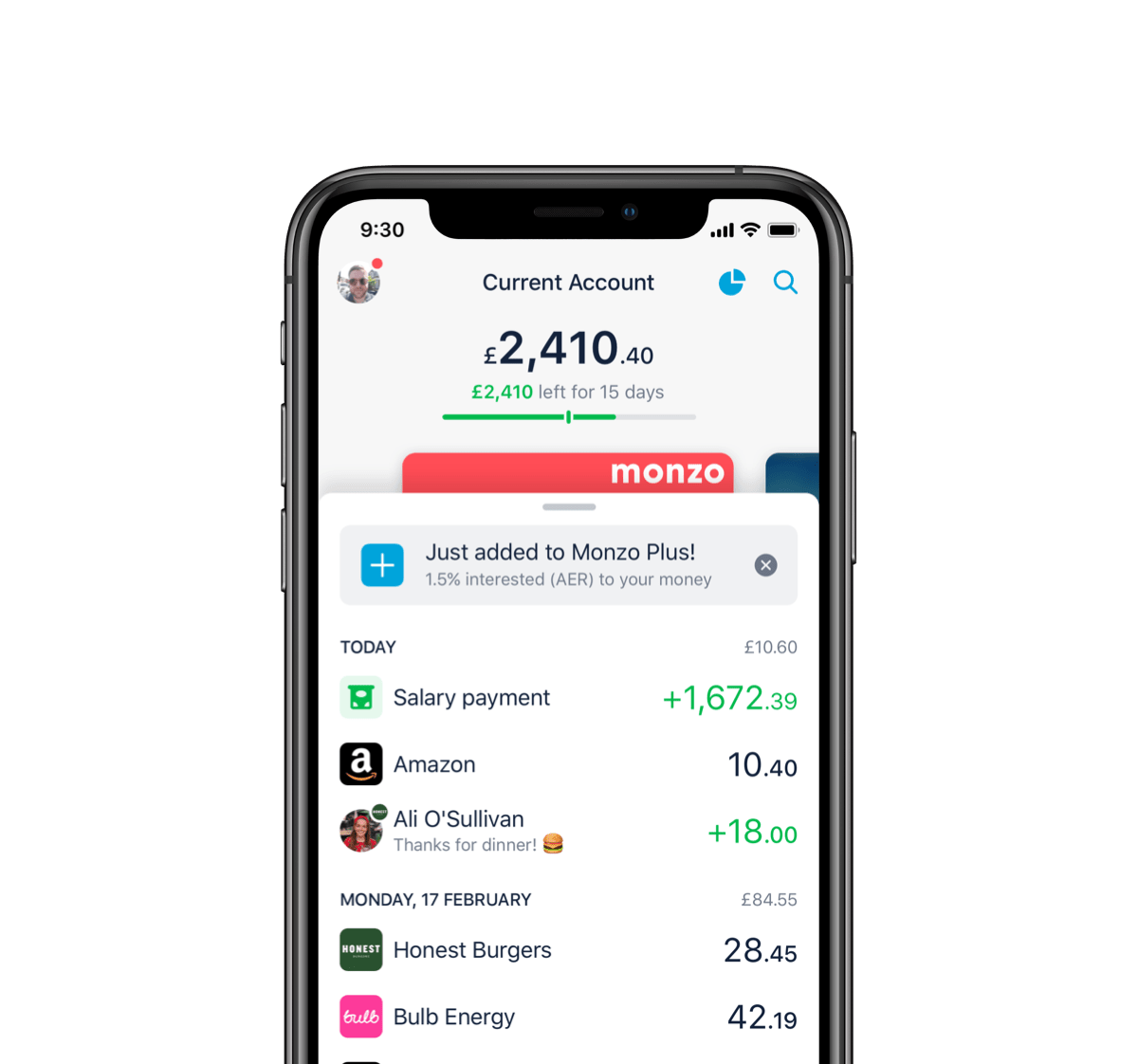 Monzo spending feed view in an iPhone