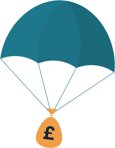 parachute with a money bag