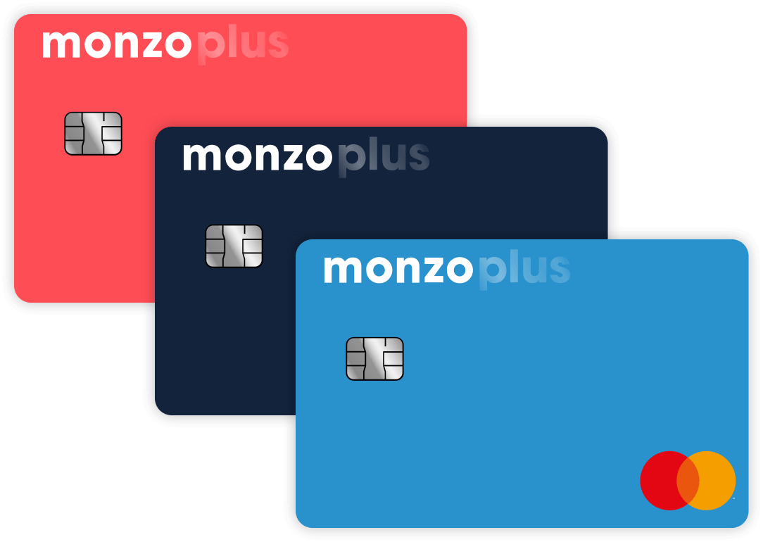 Three Monzo cards in different colours
