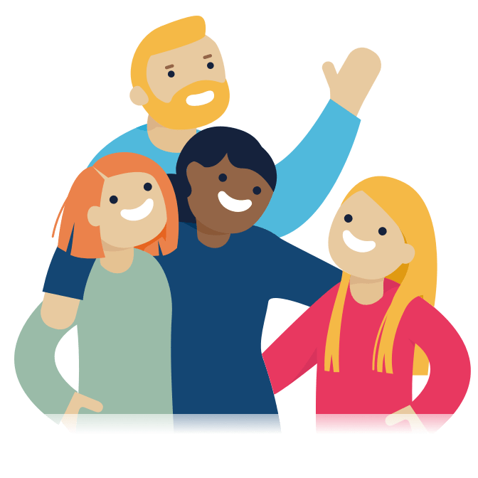 Illustration of four people hugging and smiling