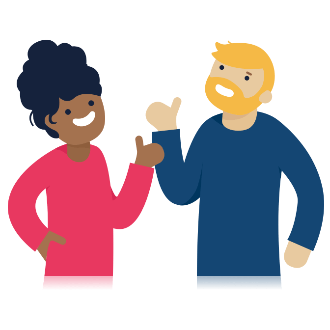 Illustration of two people giving each other a thumbs up